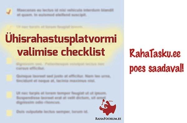 Poes saadaval ühisrahastusplatvormi valimise checklist