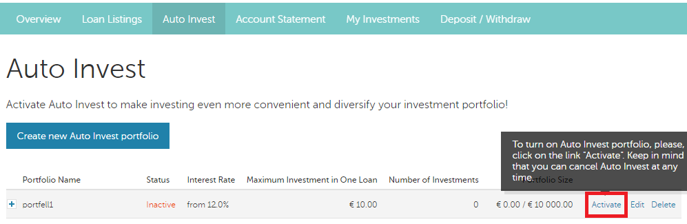 Mintos - investeeri automaatselt