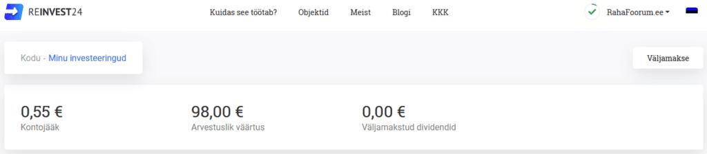 Reinvest24 väljamaksenupp