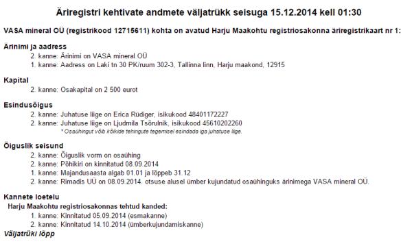 Viral Angels firma Vasa Mineral OÜ