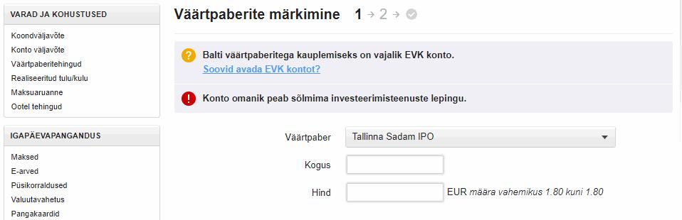 LHV kaudu Tallinna Sadama IPO-l osalemine
